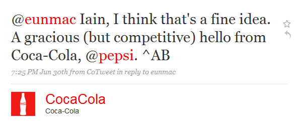Coke Says Hello to Pepsi