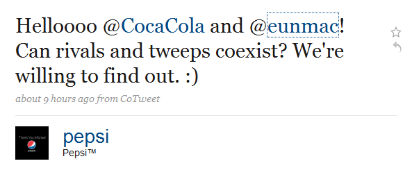 @Pepsi Says Hi To @CocaCola