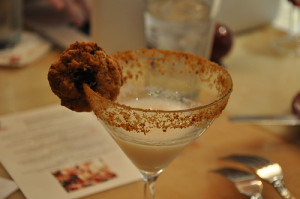 Super tasty Oatmeal Cookie martini -- with an oatmeal cookie :)
