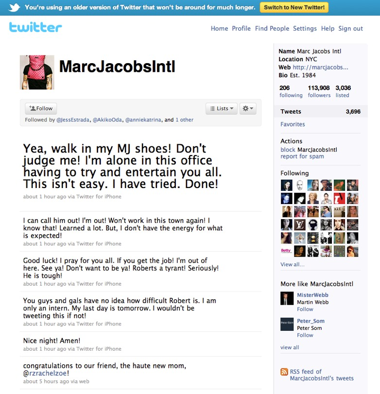 Marc Jacobs Intern Twitter Fail